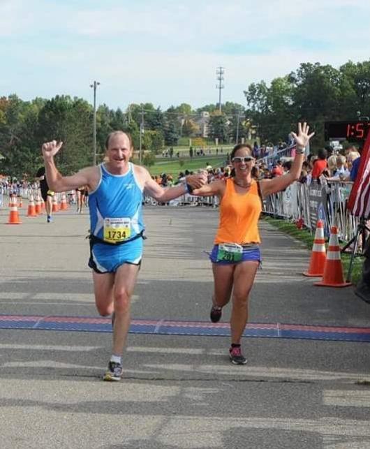 A successful finish Coach and Protege, The Brooksie Way Half Marathon, Rochester MI, 2014