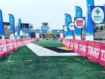 The runners view of the finish line as you enter the stadium