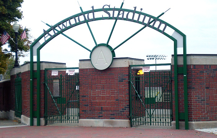 Flint's historic Atwood Stadium, just past the midway point of mile 3.