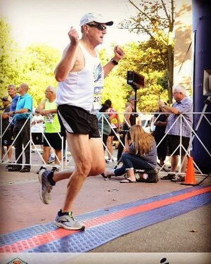 Crossing the 1 Mile Finish Line and feeling strong!