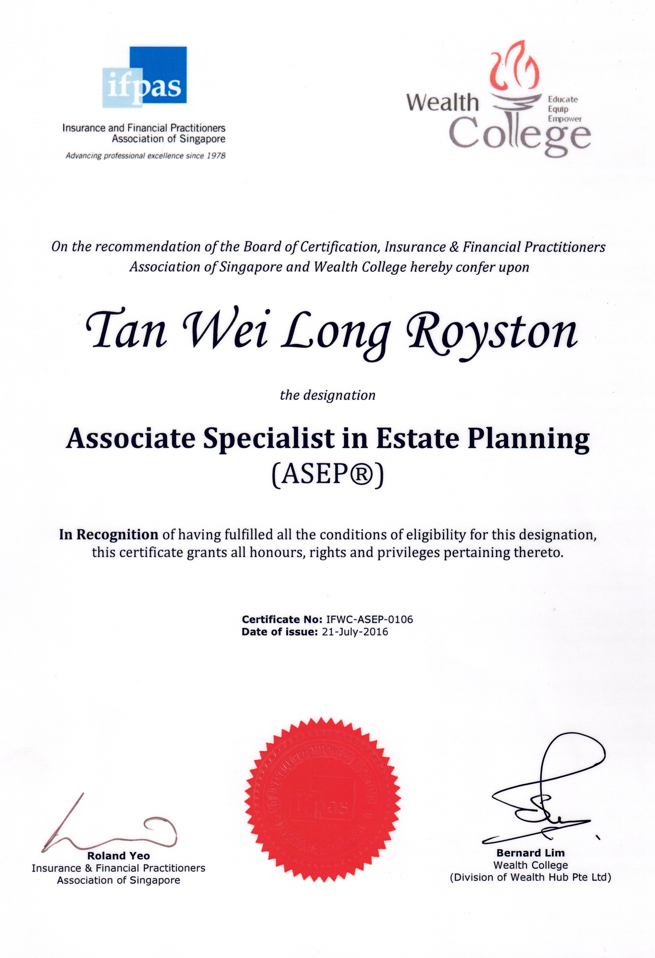 Associate Specialist in Estate Planning (ASEP®)