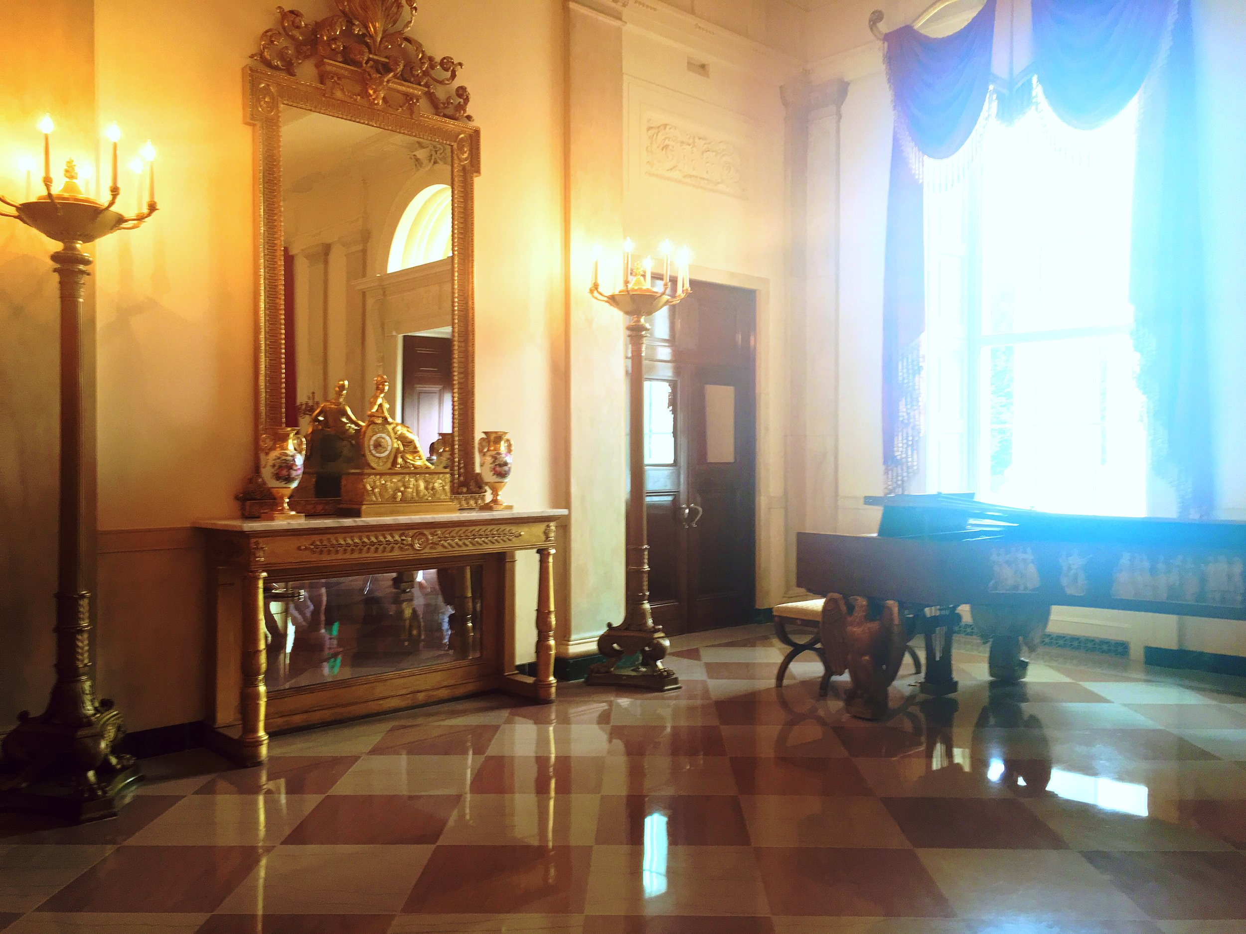 A dramatic tableau in the Entrance Hall of the White House.