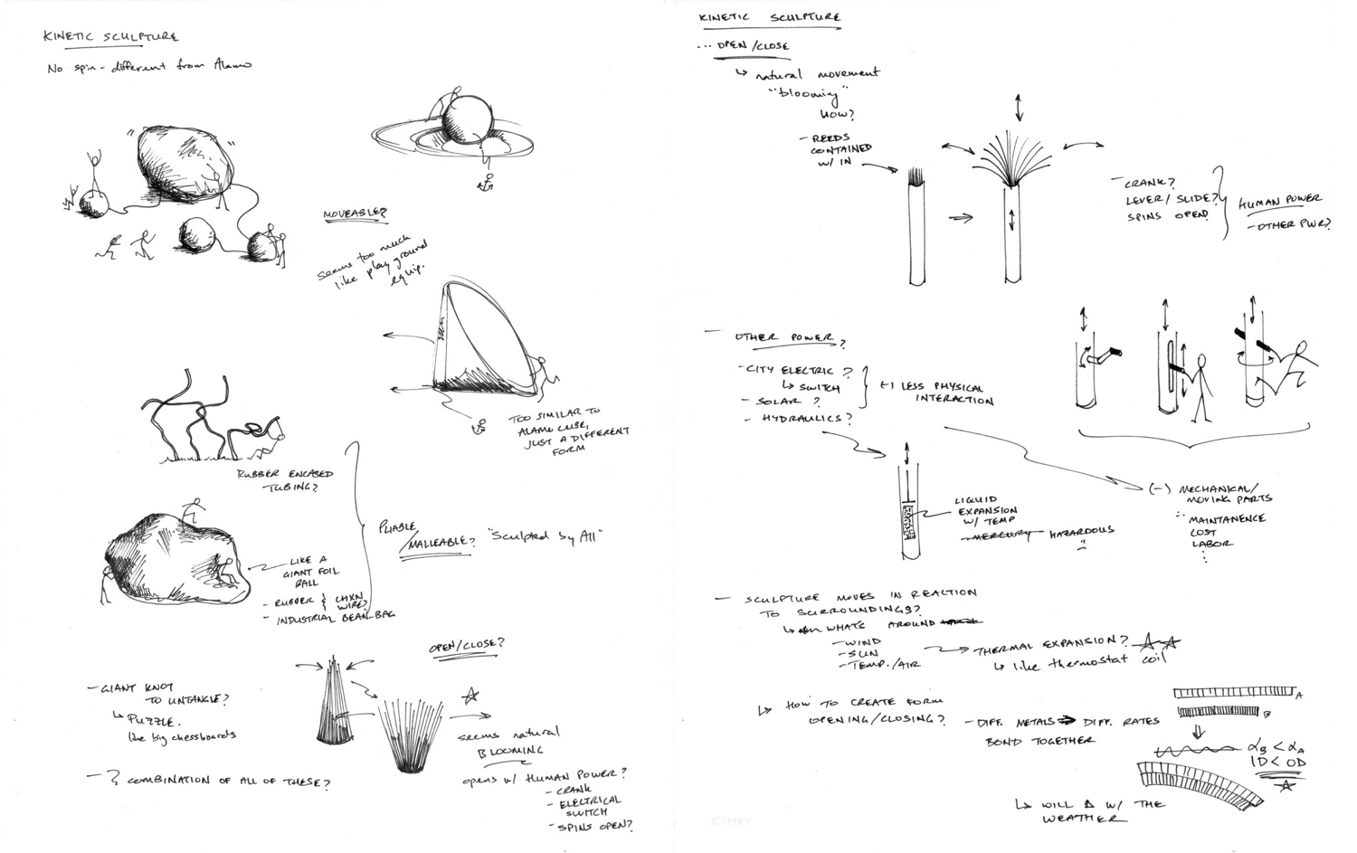 Logbook Sketches   Starting with ideas for engagement/movement and eventually getting to the idea of using thermal expansion.