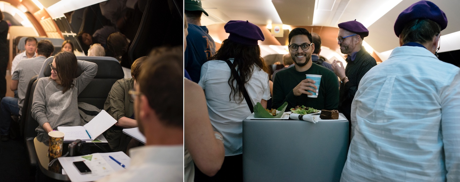"Prototype Testing  Restaurant and bar. ""Hmm, perhaps it's a bit tight here.""  Images courtesy of Airbus Flytranspose."