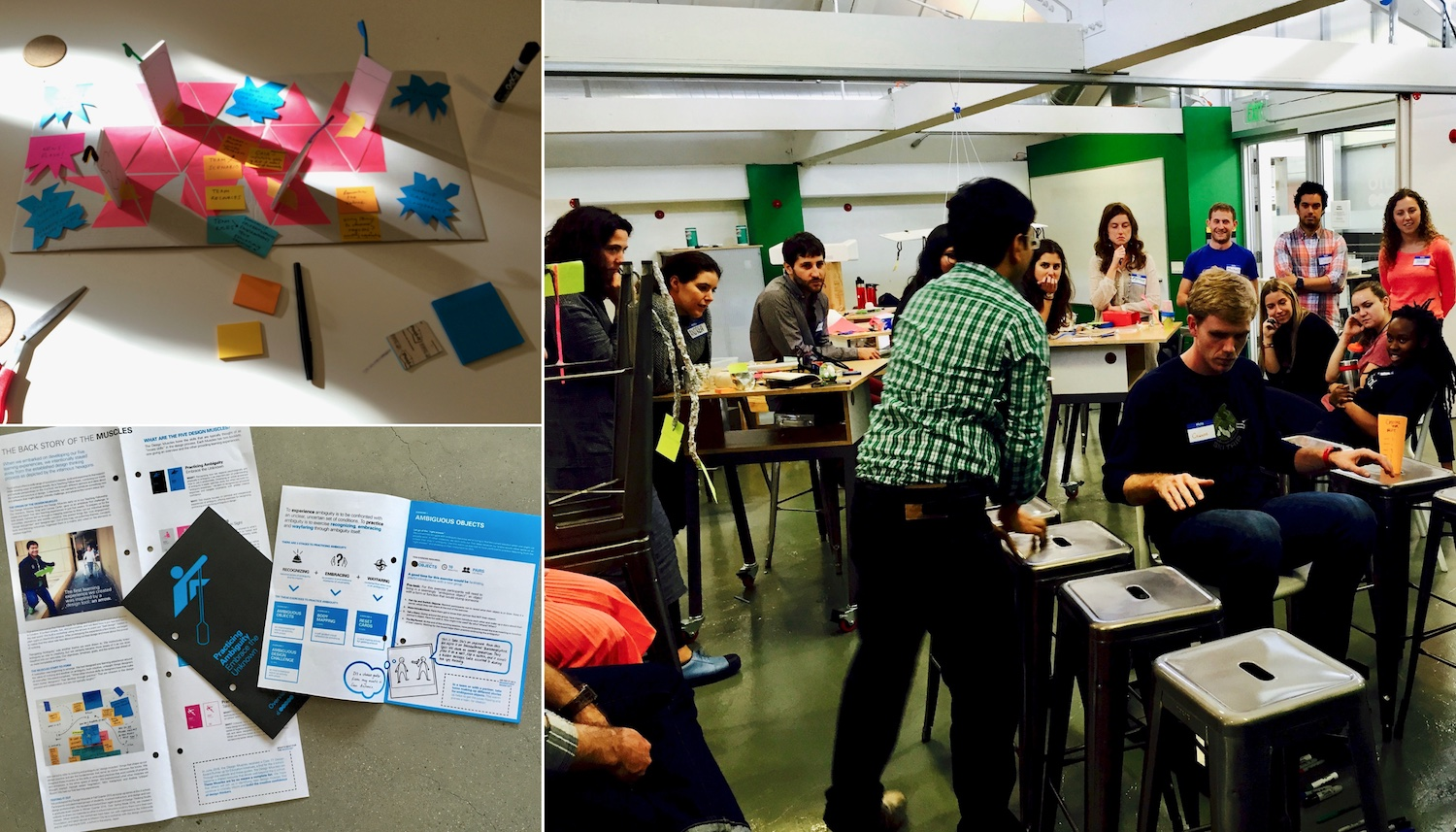 Clockwise from top left: Prototyping Practicing Negotiation, students rapid prototyping, media for Practicing Ambiguity.