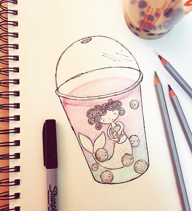 #31daysofdrawing #day4 #iszaf #mermaid #milktea #bubbletea #bubblefish #lunchbreak #doodle #sketch #art #inspired