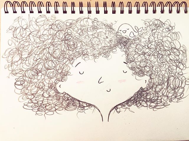 "#31daysofdrawing #day6 when I was a little girl my mother used to say my hair looked like a bird's nest. My dad nicknamed me ""hairball"" . My hair was never curly nor manageable. I wasn't ""blessed"" with beautiful curls or straight hair. Itwas a big messy frizz that I always tried to tame by holding it back with ponytails and tons of gel, and permanent straighteners. A few months ago I decided it was time to accept my hair the way it is. No more perming. Some days I wake up feeling like a broccoli head, and some days its looks half decent for work. But on special days, it looks like a beautiful bird's nest :) #myhair #proud #illustration #sketch #drawing #drawingoftheday"