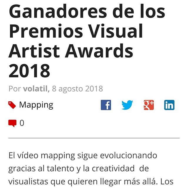 #VAANews in spanish!!! Queremos compartir con todos nuestros seguidores de habla hispana está nota que publicó @vjspain sobre nuestra primera edición de los VAAs. Disponible ya en vjspain.com! . . #projection #vj #videomapping #videojockey #videoart #digitalart #digitaldesign #mapping #motiongraphics #visualartistawards#VAAS #projectionmappers #vdmx #resolume #madmapper #adobe #ai #avolites #d3 #hippotizer #graphics #art #lightart #pixels #inspiration #lasers