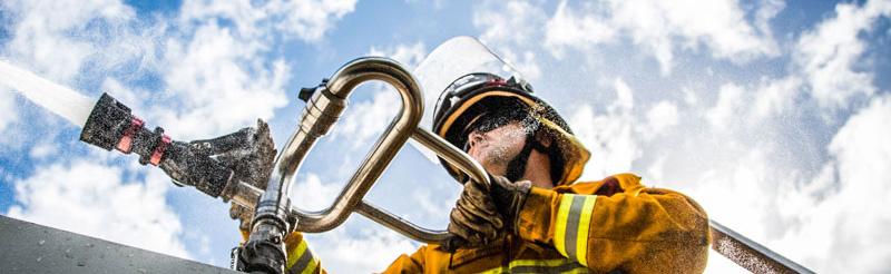 Fireman and hose