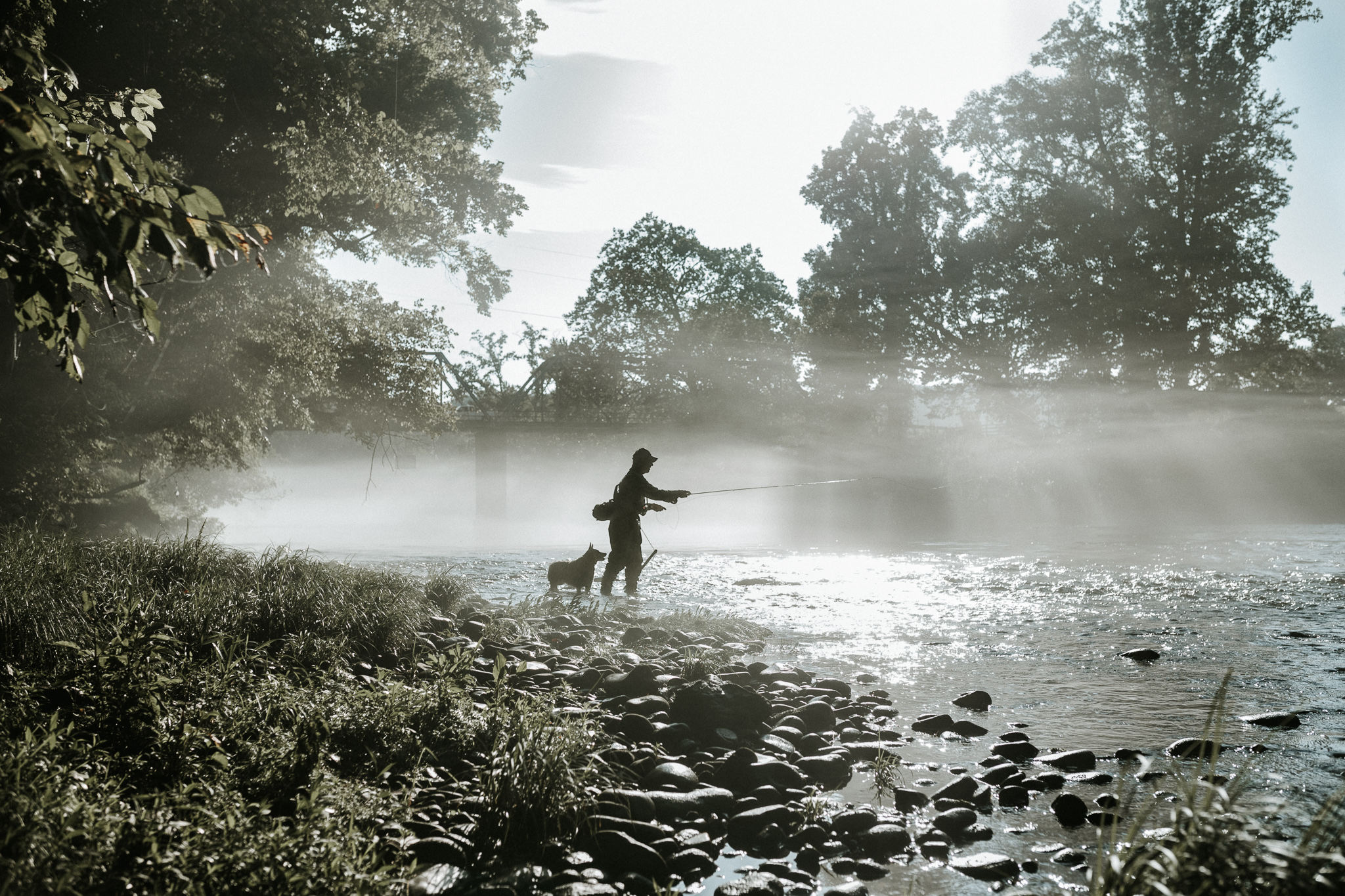 Tony, Mike's Dad, fly fishing in the fog…