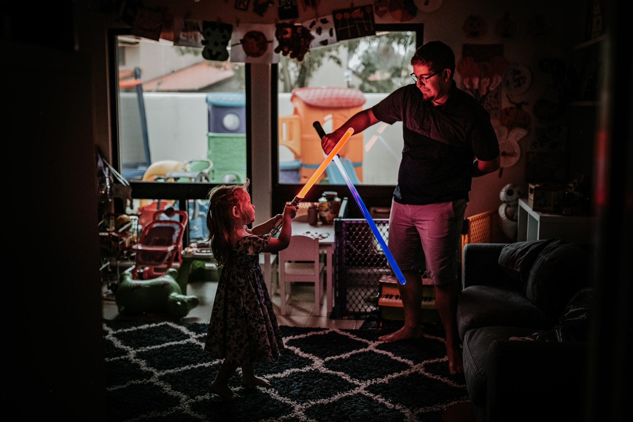 Epic light saber battle to end the morning