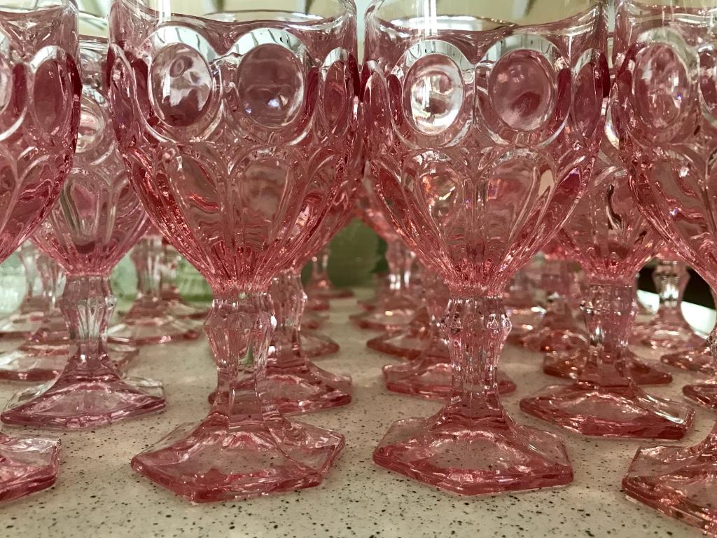 Fostoria Moonstone vintage pink glass goblets for rent