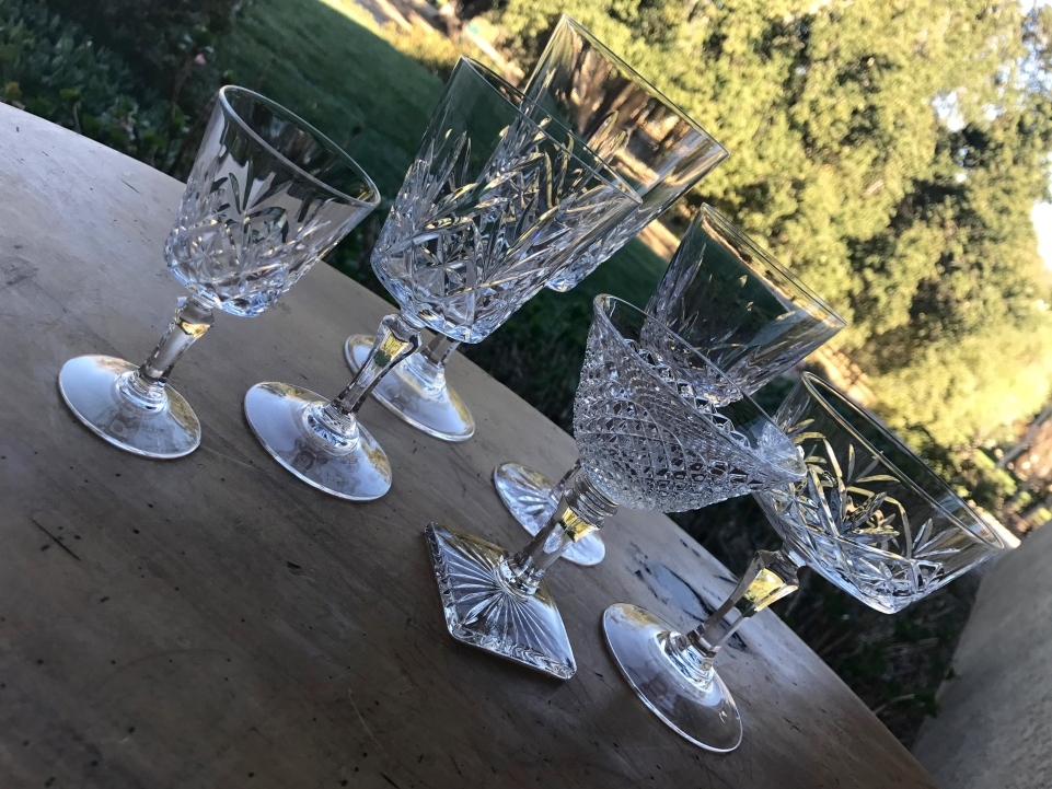 EAPC cut glass and crystal goblets. Mismatched and vintage.