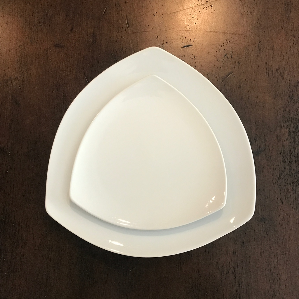 Modern white china triangle shaped dinner and salad plates available to rent in Murrieta..