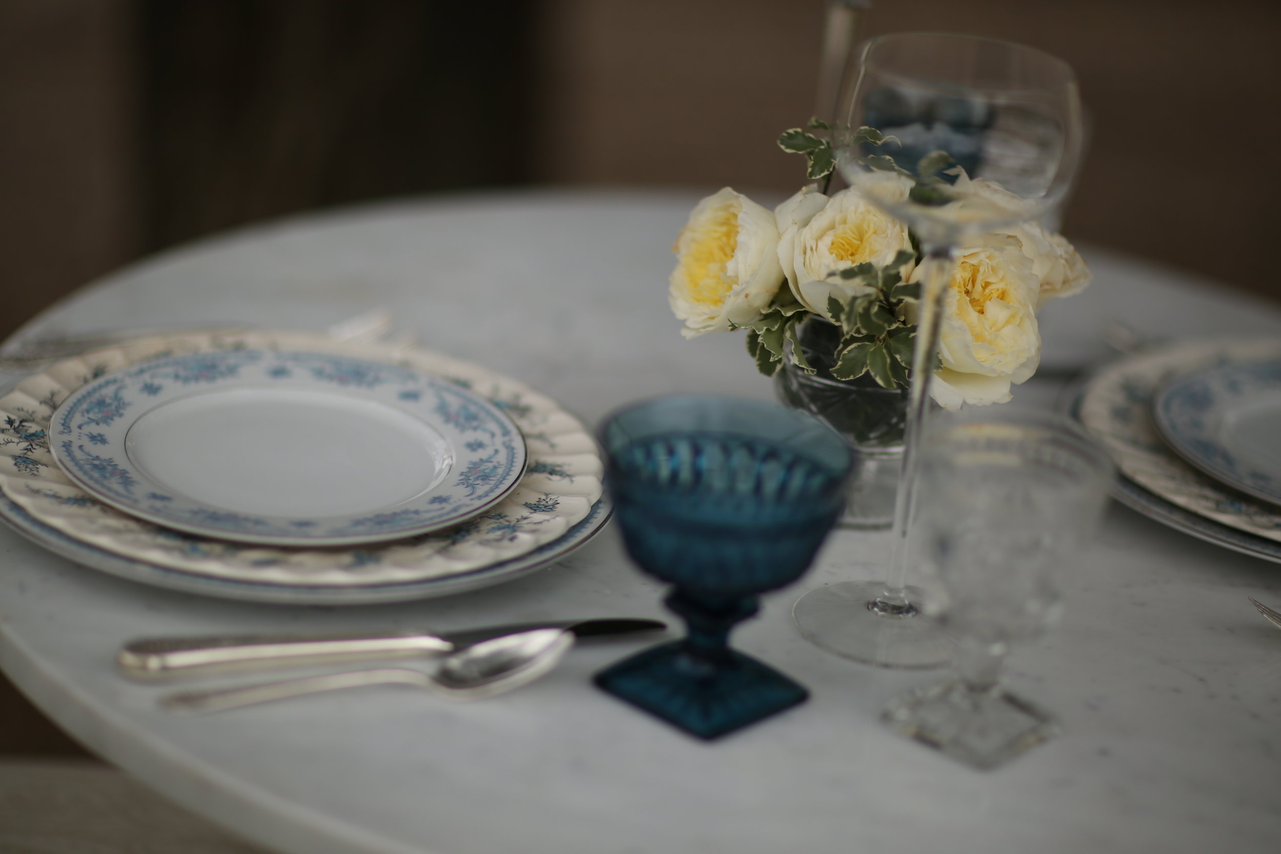 Sweetheart wedding table of mismatched vintage blue china.. Temecula Valley wedding rentals.