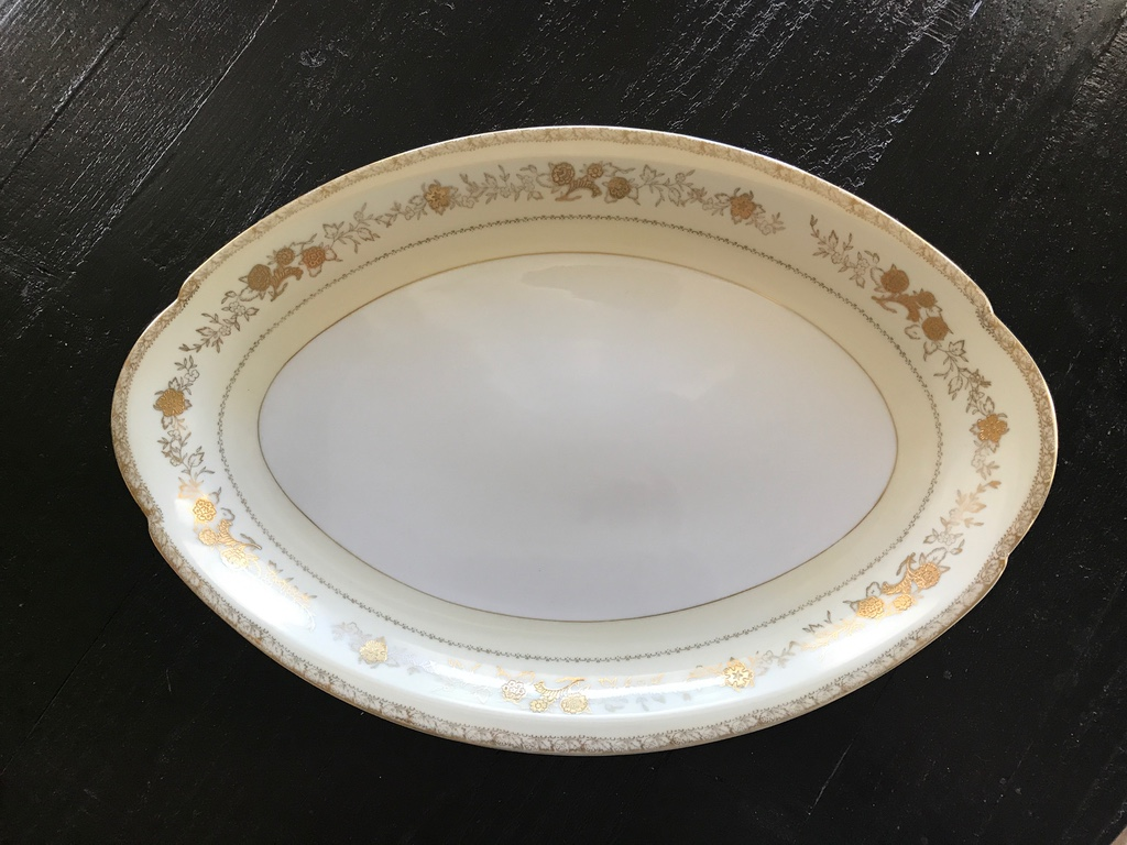 Vintage gold patterned china platter