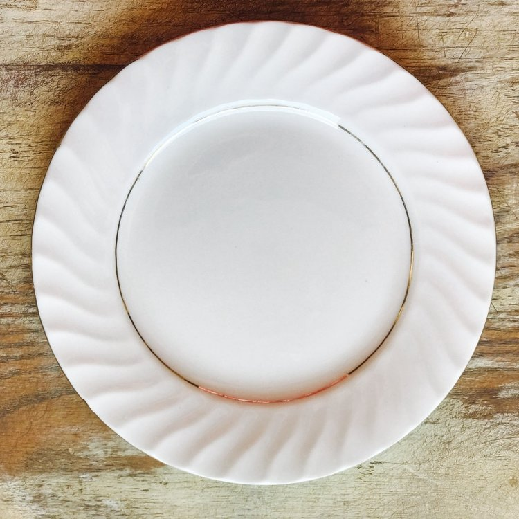 """Gold and White China Salad Plate.    7""""-8"""" salad or dessert plate. Mismatched."""