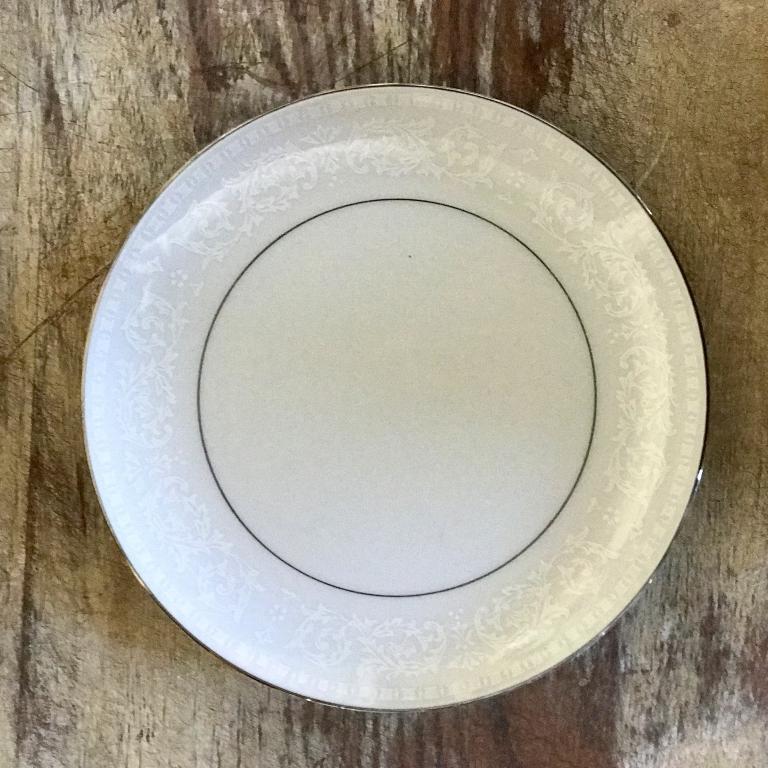 """Silver China Salad or Dessert Plate.    7""""-8"""" Salad or Dessert Plate. Mismatched"""
