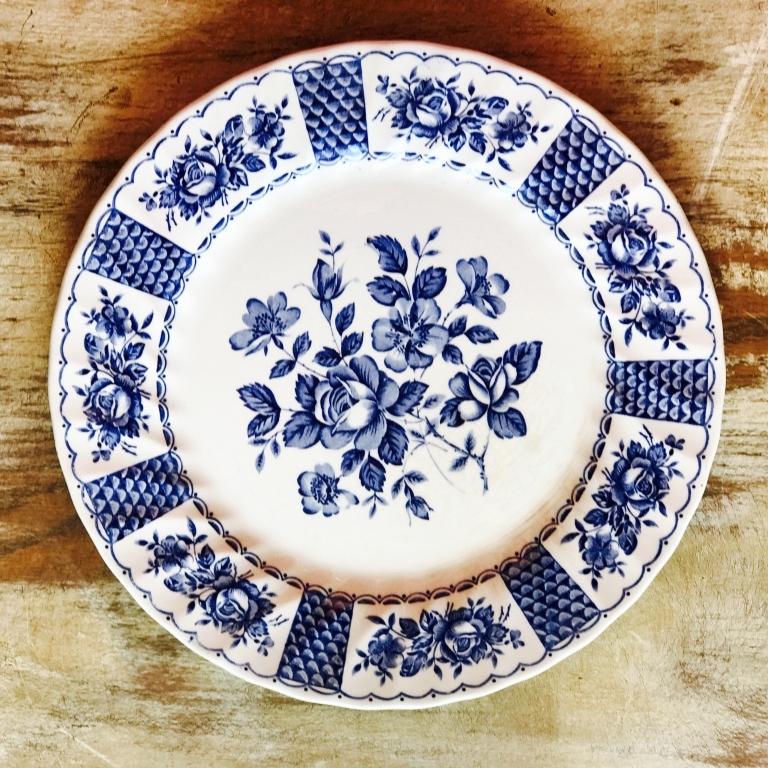 "Bluebird China Dinner Plate.    10""-11"" Dinner plate. Mismatched."