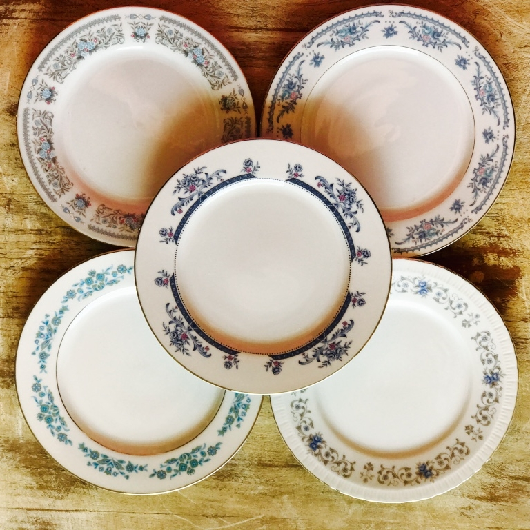 Vintage mismatched china for rent for wedding or events in Murrieta.
