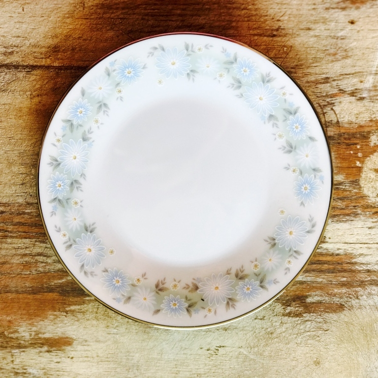 Mismatched blue china bread or appetizer plate. Vintage rentals in the Temecula Valley.