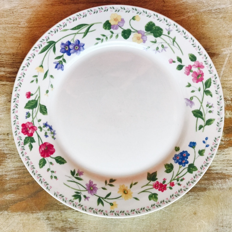 Mismatched Vintage Pink Floral China Dinner Plate for rent in the Temecula Valley.