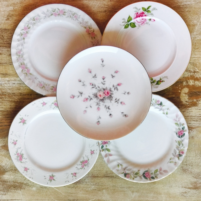 Floral mismatched china dessert or salad plate for wedding rentals in the Temecula Valley.