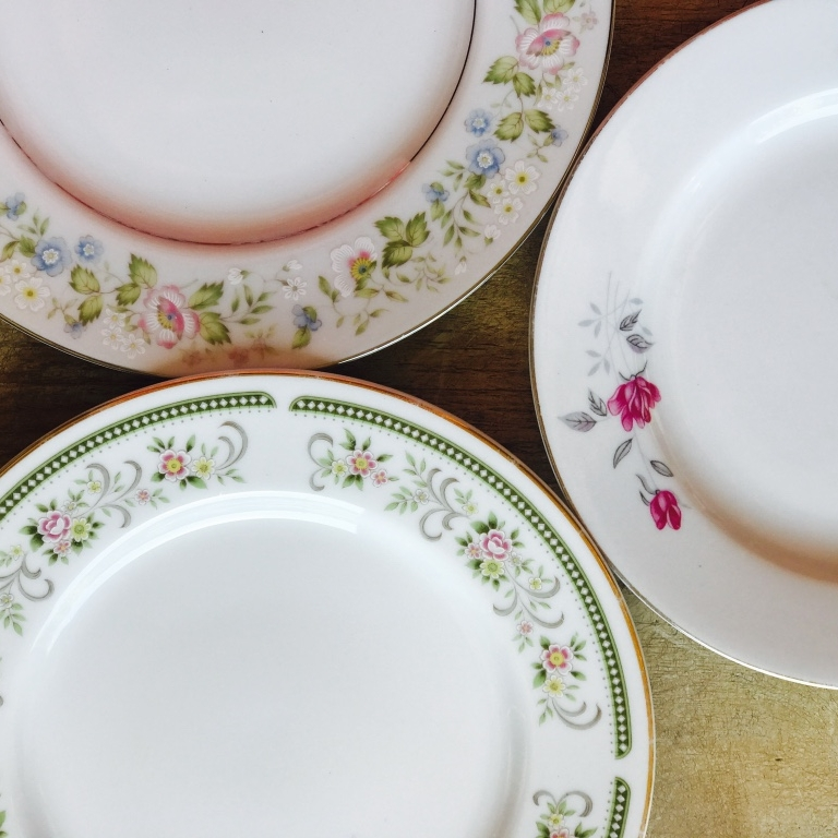 Mismatched vintage china rental in the Temecula Valley. Florals and pink patterns,