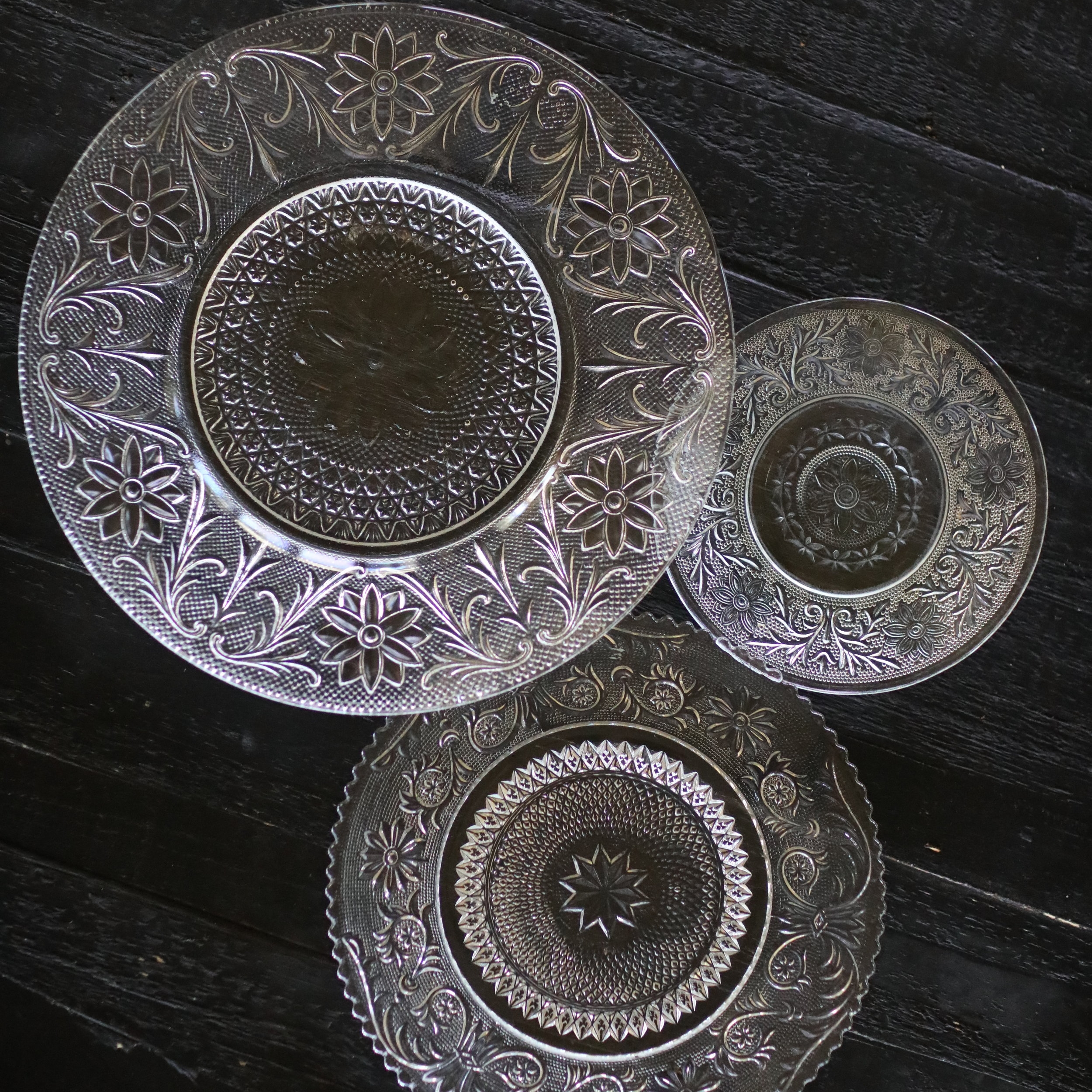 EAPC cut glass dishes. Three different sizes for a beautiful place setting. Wedding Rentals.
