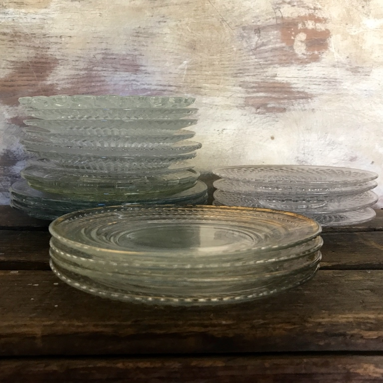 Vintage mismatched cut glass plates. Great for all events or weddings. Wedding rentals in Murrieta.