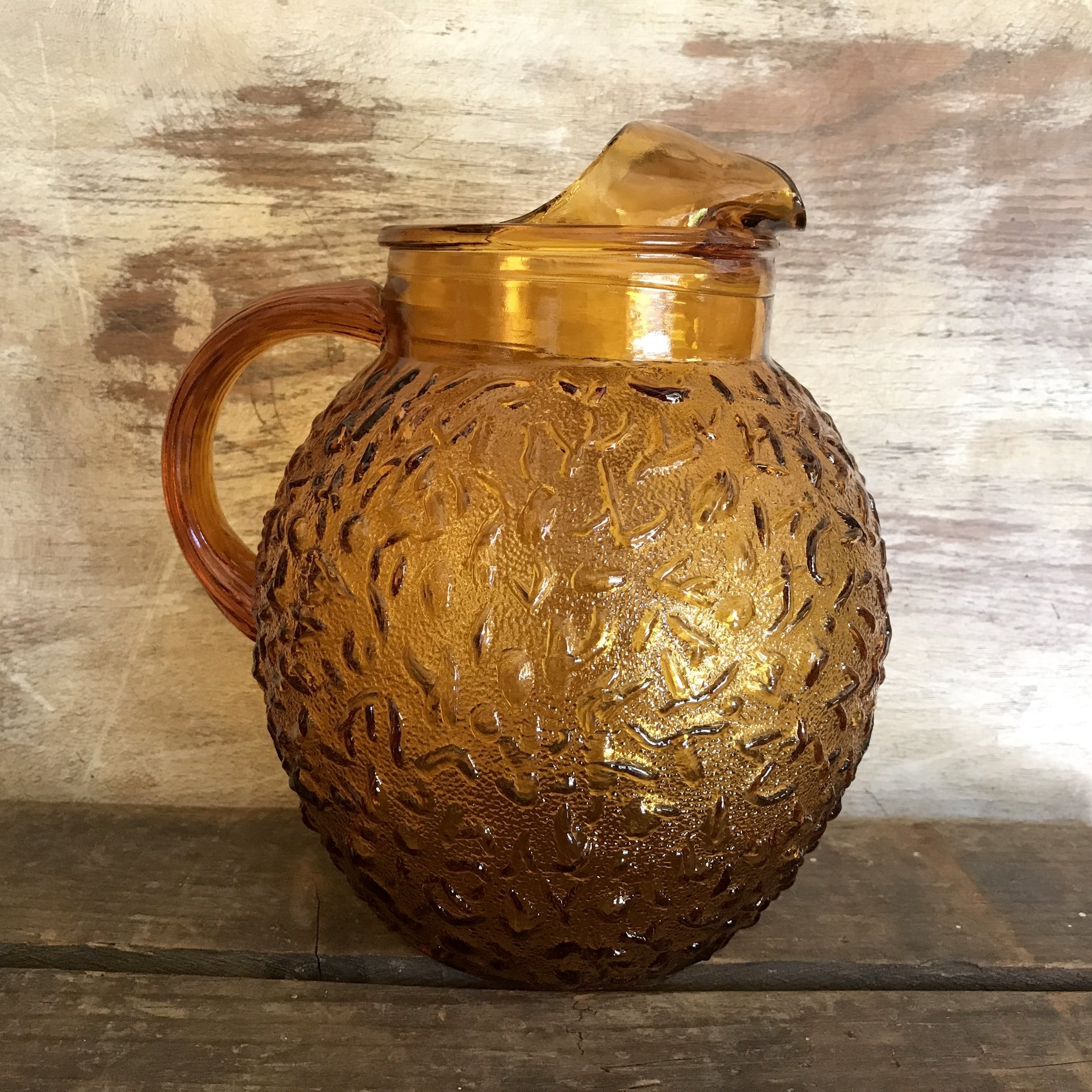 Amber Glass Pitcher.    Assorted Amber glass water pitchers. Mismatched.