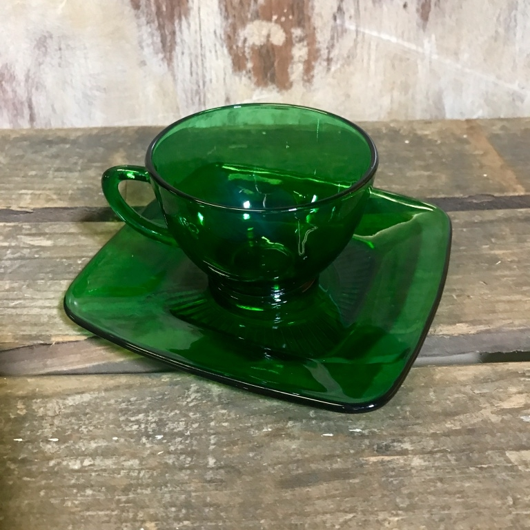 Green Glass Cup and Saucer.   Square saucer. Anchor Hocking green. Hot or cold.