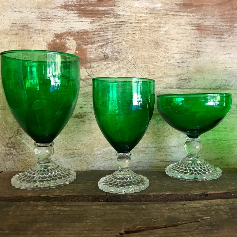 Green Drinking Glasses.   Assorted goblets and tumblers. Anchor Hocking green.