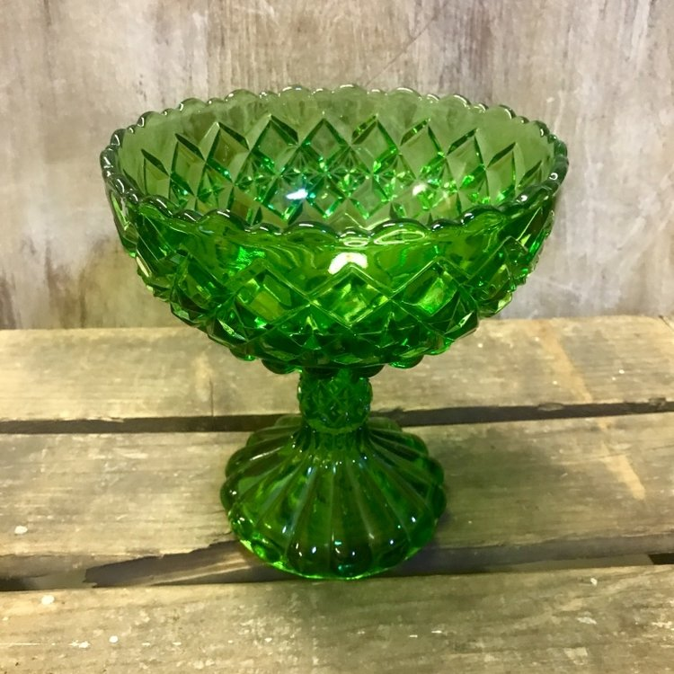Cut green glass candy dish. Perfect for a colored glass candy bar. Vintage rentals in Murrieta.