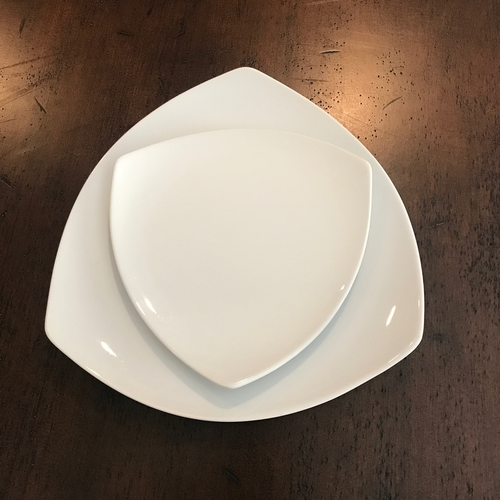 White china triangle contemporary dinner plate with salad plate. Perfect for a modern table flair. Rentals in The Temecula Valley.