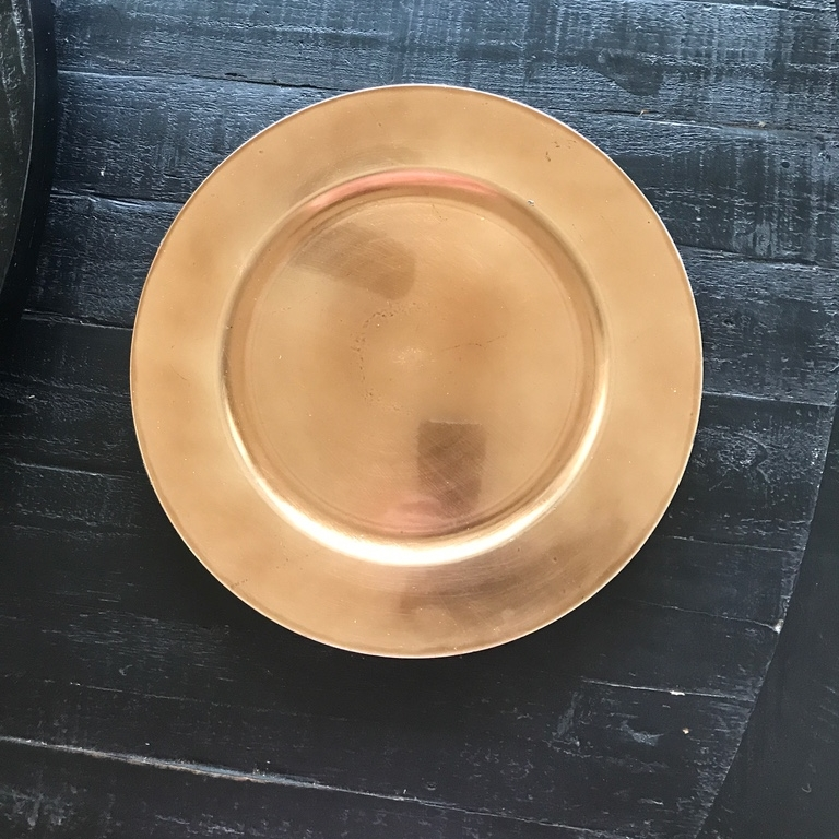 """Gold Charger Plate.    13"""" acrylic charger. Mismatched."""