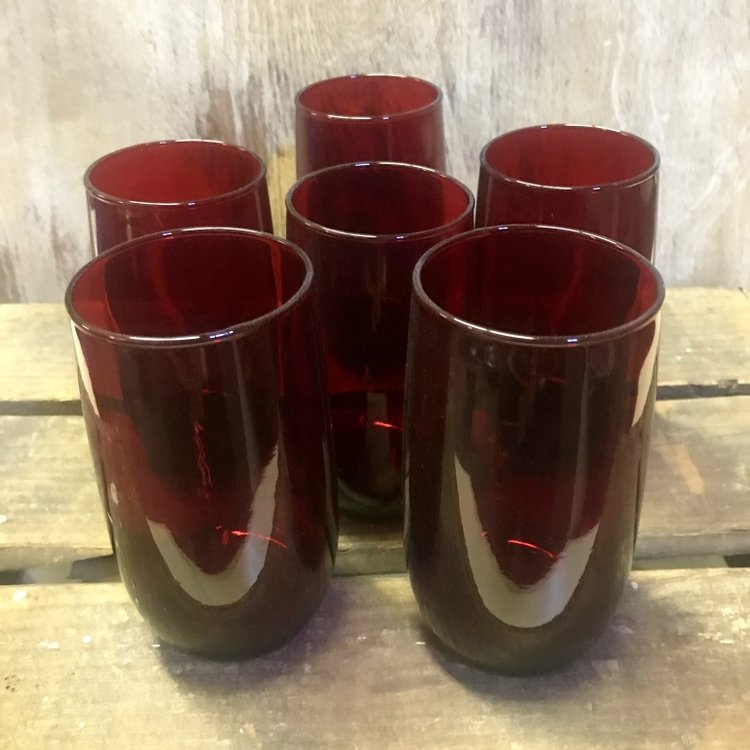Ruby Glass Tumblers    8 oz. Mixes well with ruby goblets.