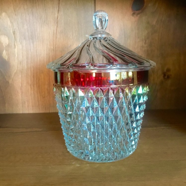 Cut glass barrel shaped candy dish with a lid and a ruby rimmed top. Mid Century Modern. Vintage Rental.