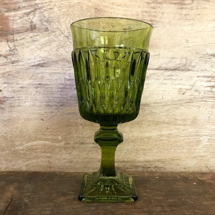 Olive green cut glass long stemmed goblet. Mid century modern. Vintage and mismatched rentals.