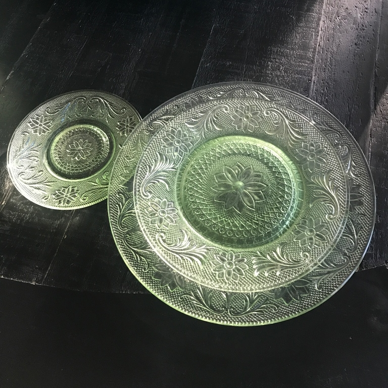 Full place setting of Anchor Hocking cut glass lime green plates. Vintage mid century modern. Wedding rentals in the Temecula Valley.