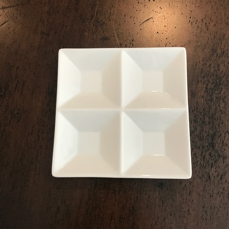 "White Divided Appetizer Plate   6"" square. Divided into four sections."
