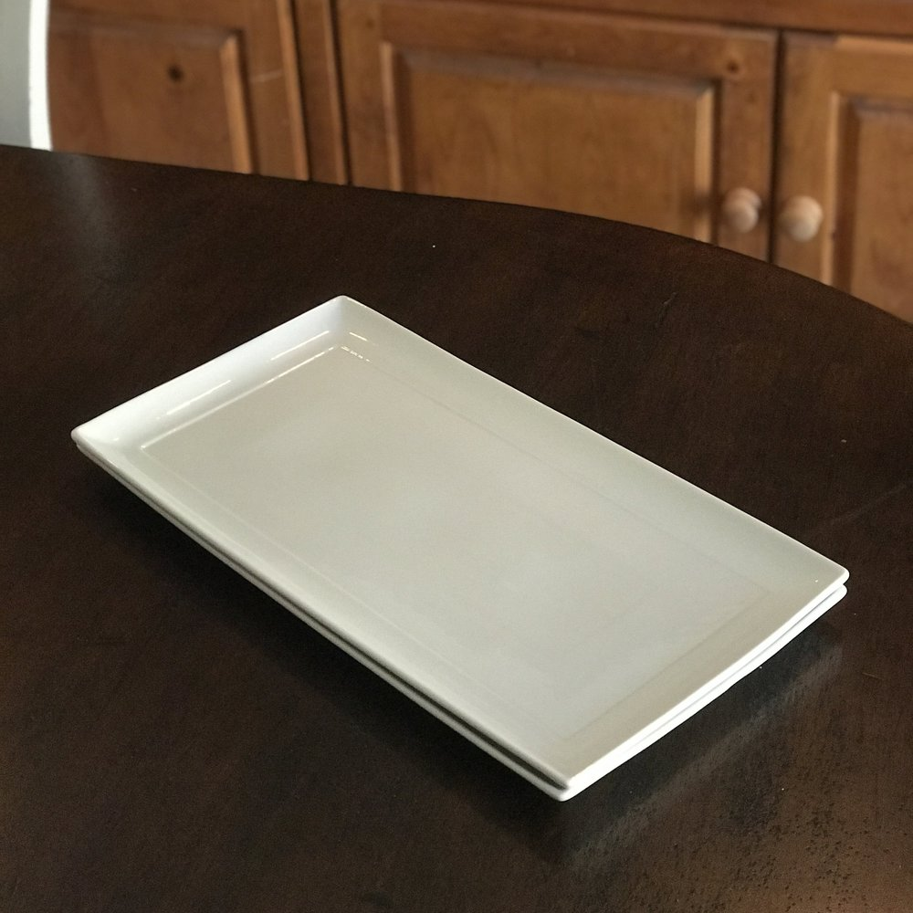 "White Rectangle Serving Plate.   17.5"" x 9"" rectangle. Great for appetizers or desserts."