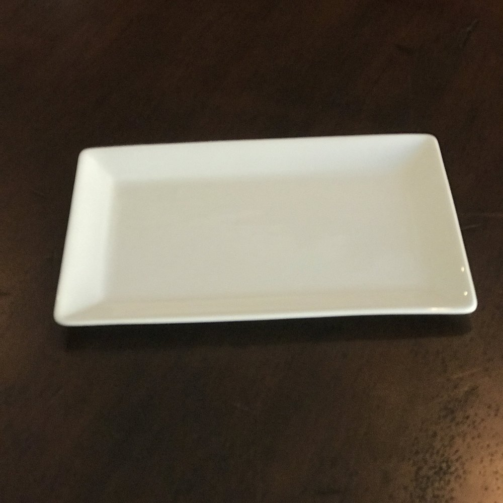 "White Rectangle Serving Plate Small.   11"" x 7.25"" rectangle. Just a little smaller version."