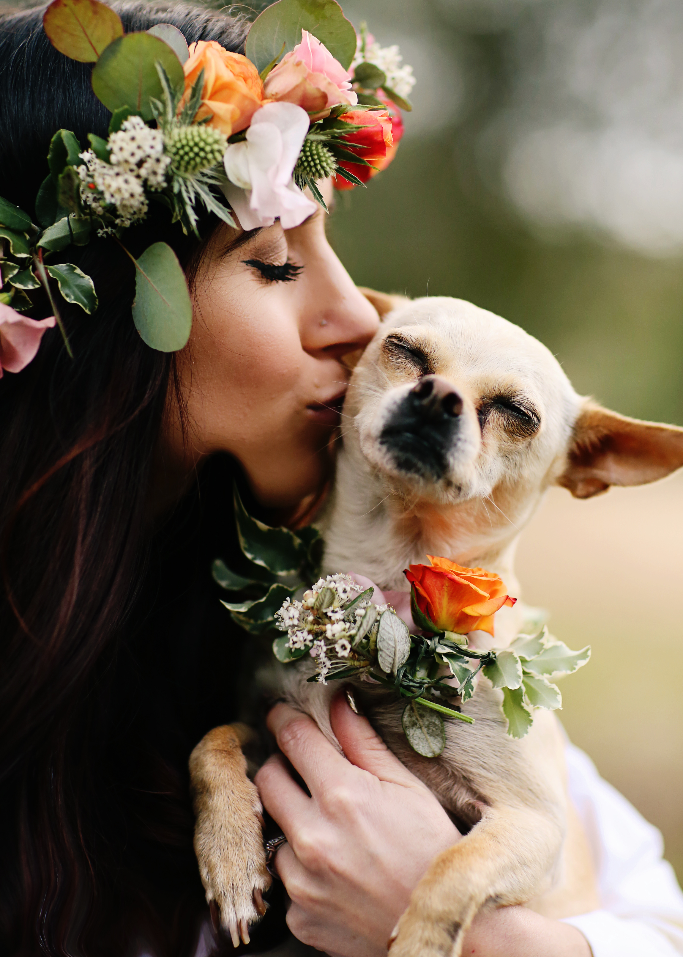 Mother Nature Bride with her dog Kai. She is wearing a floral crown made by Bleudog Floral of Orange County. He dog is wearing a floral color too.
