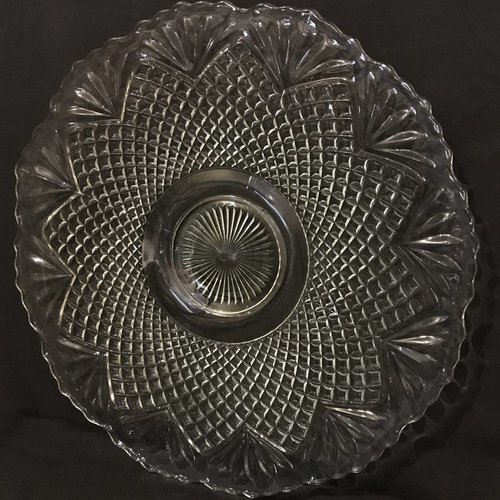 "Fan Pattern Serving Tray.    Heavy cut glass Art Deco serving tray with fan pattern and squatty pedestal base. 23.25"" round x 1.5"" tall."