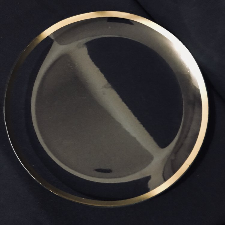 "Gold Banded Platter.    Clear glass platter with a metallic gold band. 13"" round."