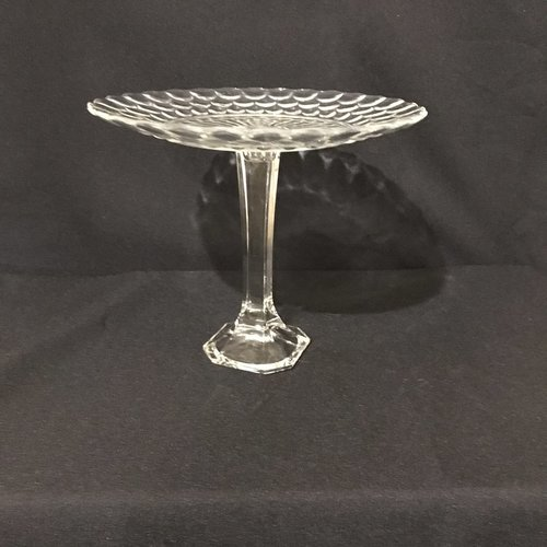 "Bubble Pedestal Platter.    Vintage cut glass pedestal tray with a clipped square base. Bubble pattern. 9.25"" round x 7.5"" tall."