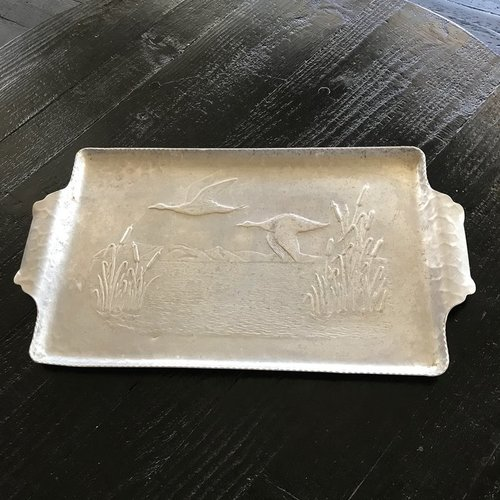 "Aluminum Rectangle Duck Tray.    14"" x 9.5"" this rectangle tray is embossed with flying ducks on it."