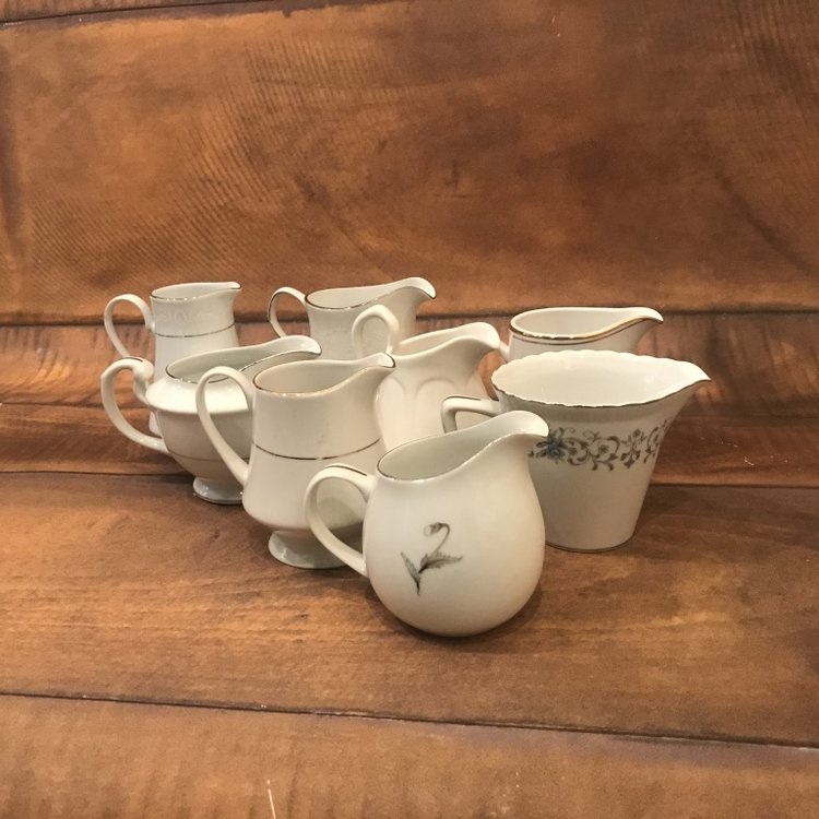 Small China Pitchers    Mismatched. Used for sauces, dressings, cream, syrup etc.