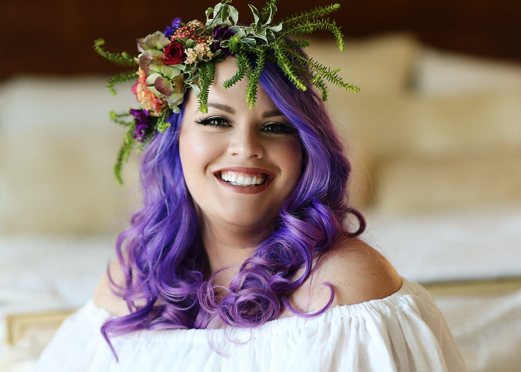 Beautiful Ultra Violet haired bride at Chateau Adare in Murrieta, California.